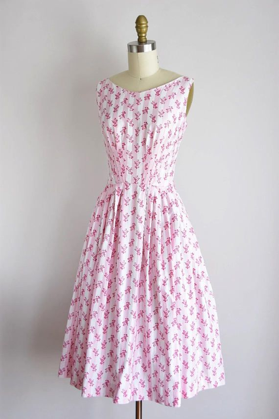 11a2450bbe30 1950s Pink Garden dress/ vintage 50s floral daydress/ Gay Gibson ...