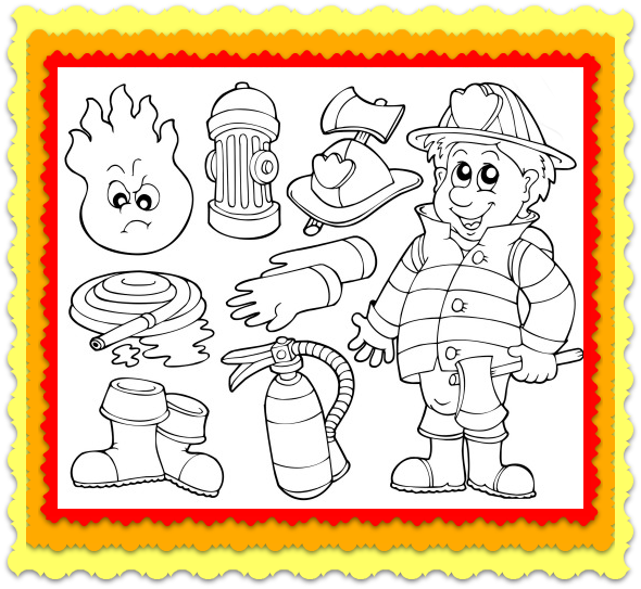Fireman Coloring Worksheet and | Fire safety worksheets ...