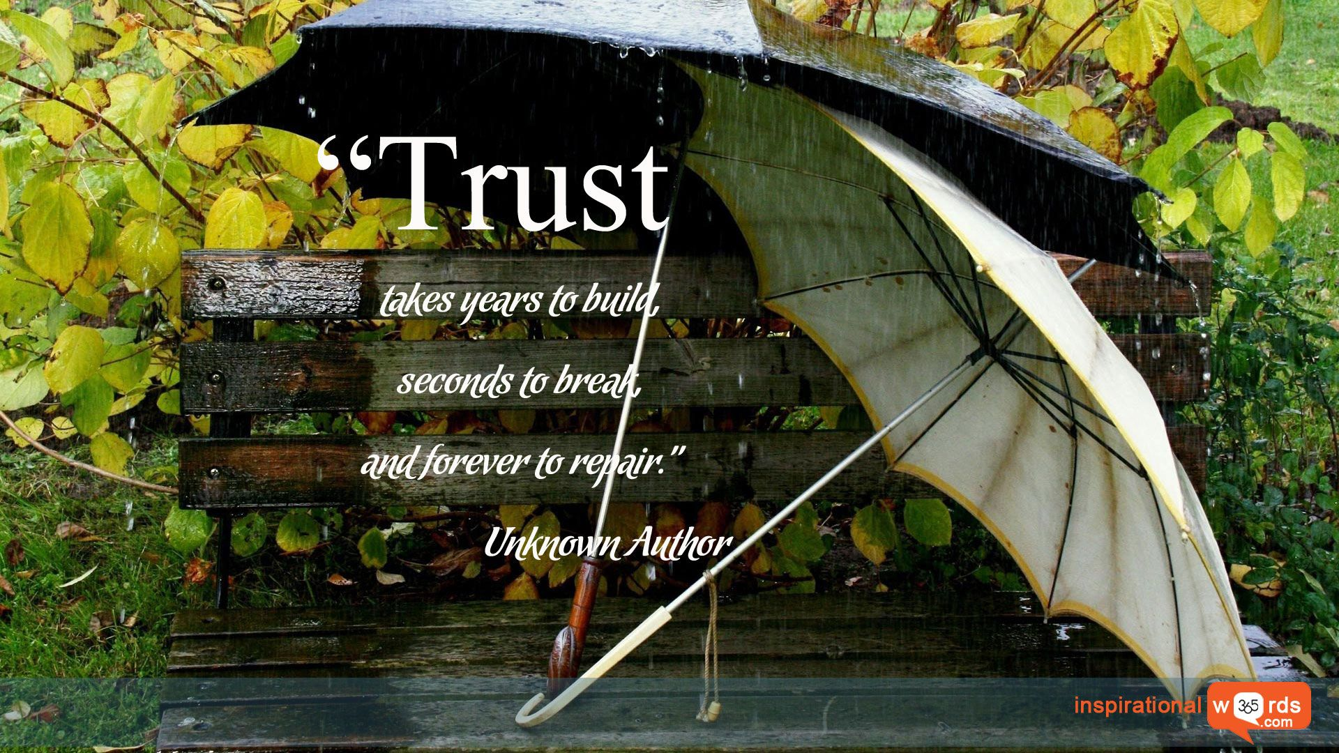 """Inspirational Wallpaper Quote. Unknown Author """"Trust takes years to build, seconds to break, and forever to repair."""""""