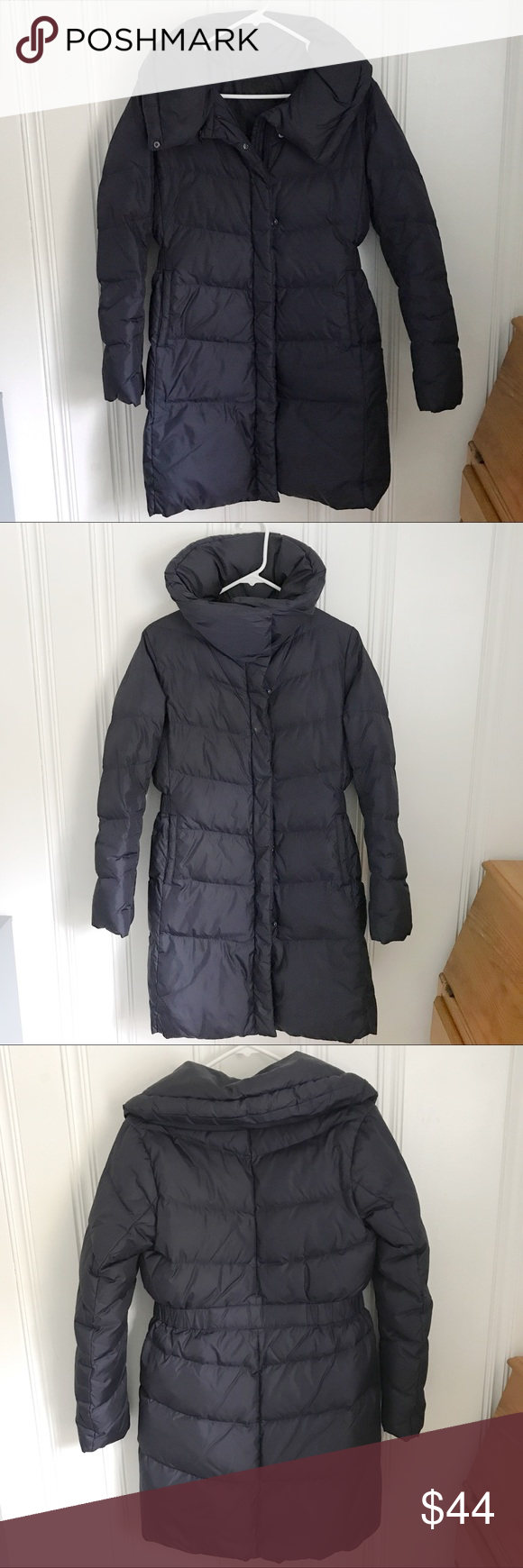 Uniqlo Navy Long Puffer Jacket S Puffer jackets, Jackets