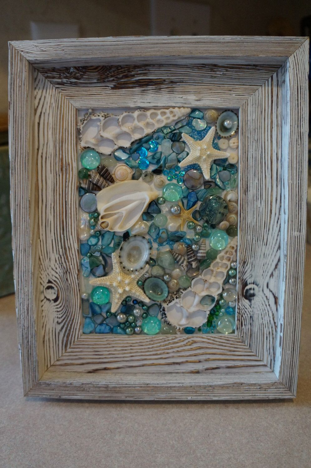 sea shell collage, framed art, beach decor, shell decor by ...