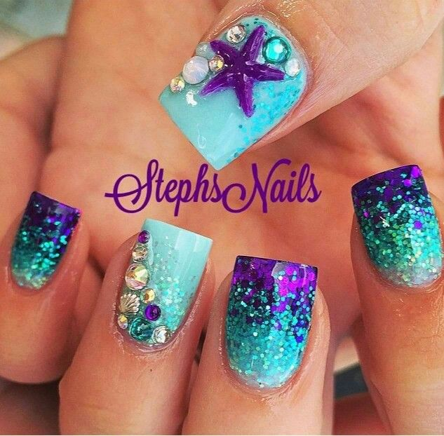 Mermaid nails | nails | Pinterest | Mermaid nails, Mermaid and ...
