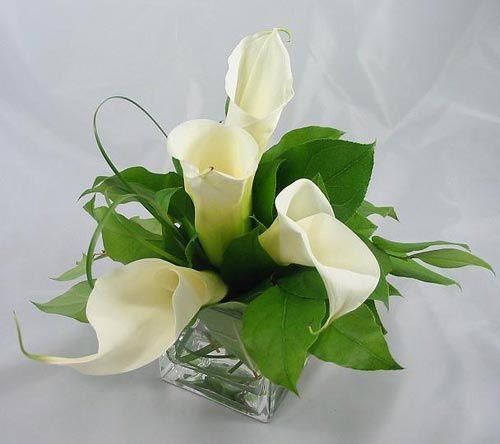 Simple elegant calla lily wedding centerpieces