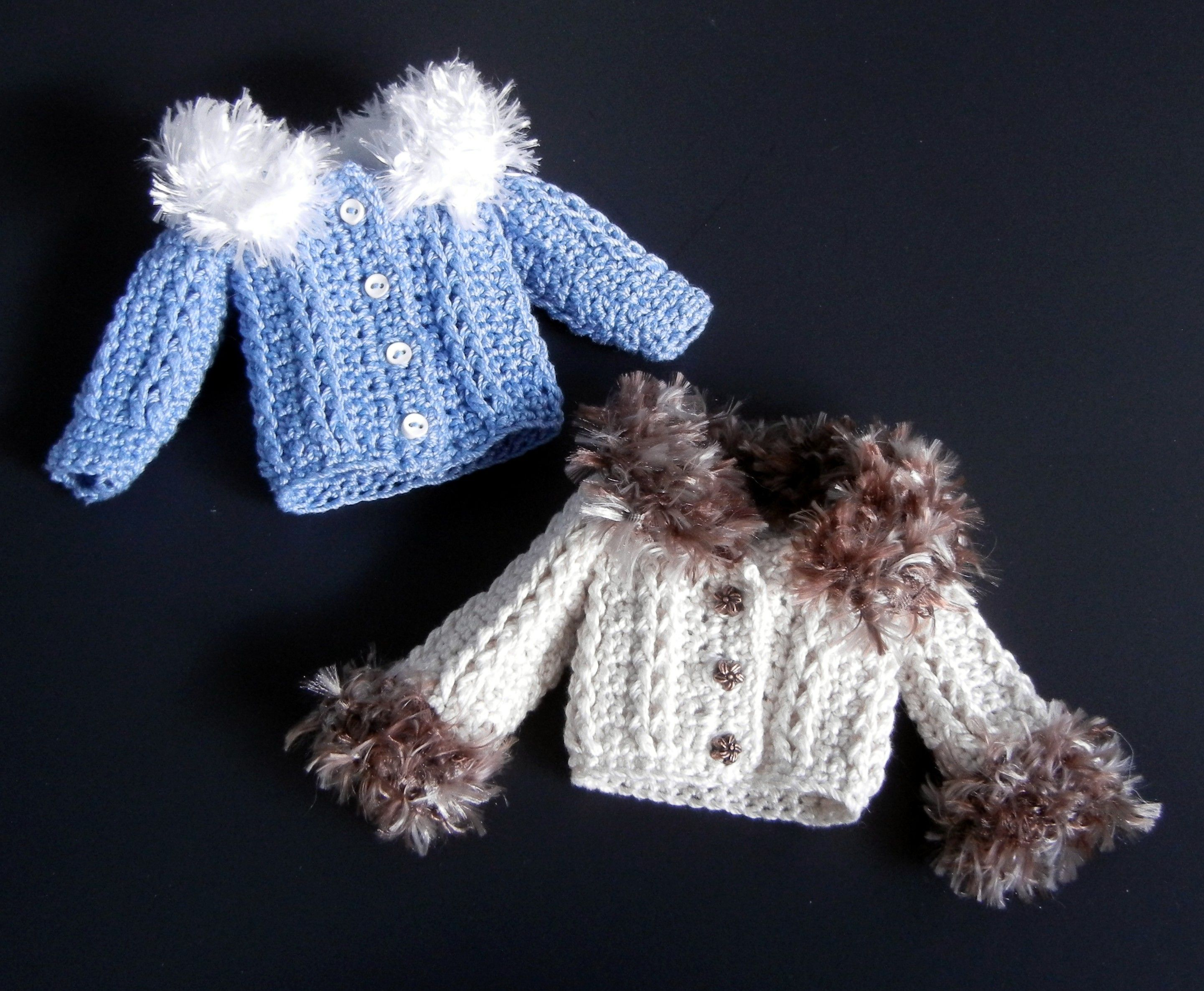 crochet pattern PDF for Barbie - a chunky fur-trimmed cardigan in 2 ...