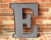 "Large Reclaimed Grey Plastic Sign Block Letter ""E"", Industrial Salvage, Home Decor, Office Decor, Industrial Decor"