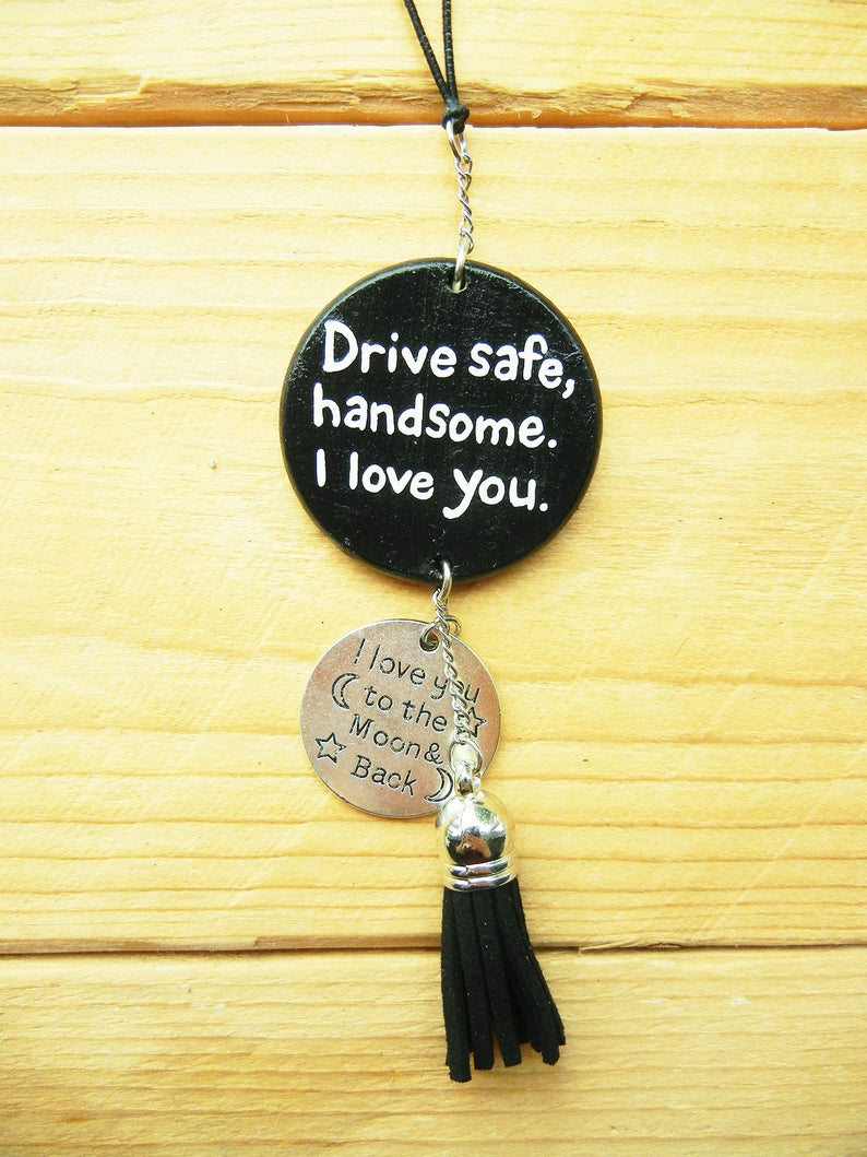 Drive Safe Handsome I Love You Car Mirror Hanging, For Boyfriend, Anniversary Gift For Him, To