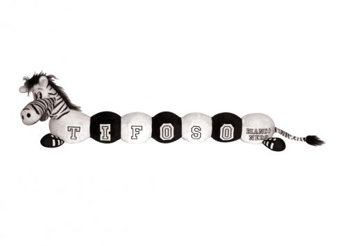 TIF8 BRUCO BIANCO/NERI  Peluche a forma di bruco con testa di zebra Forza Bianconeri e la scritta tifoso bianconero