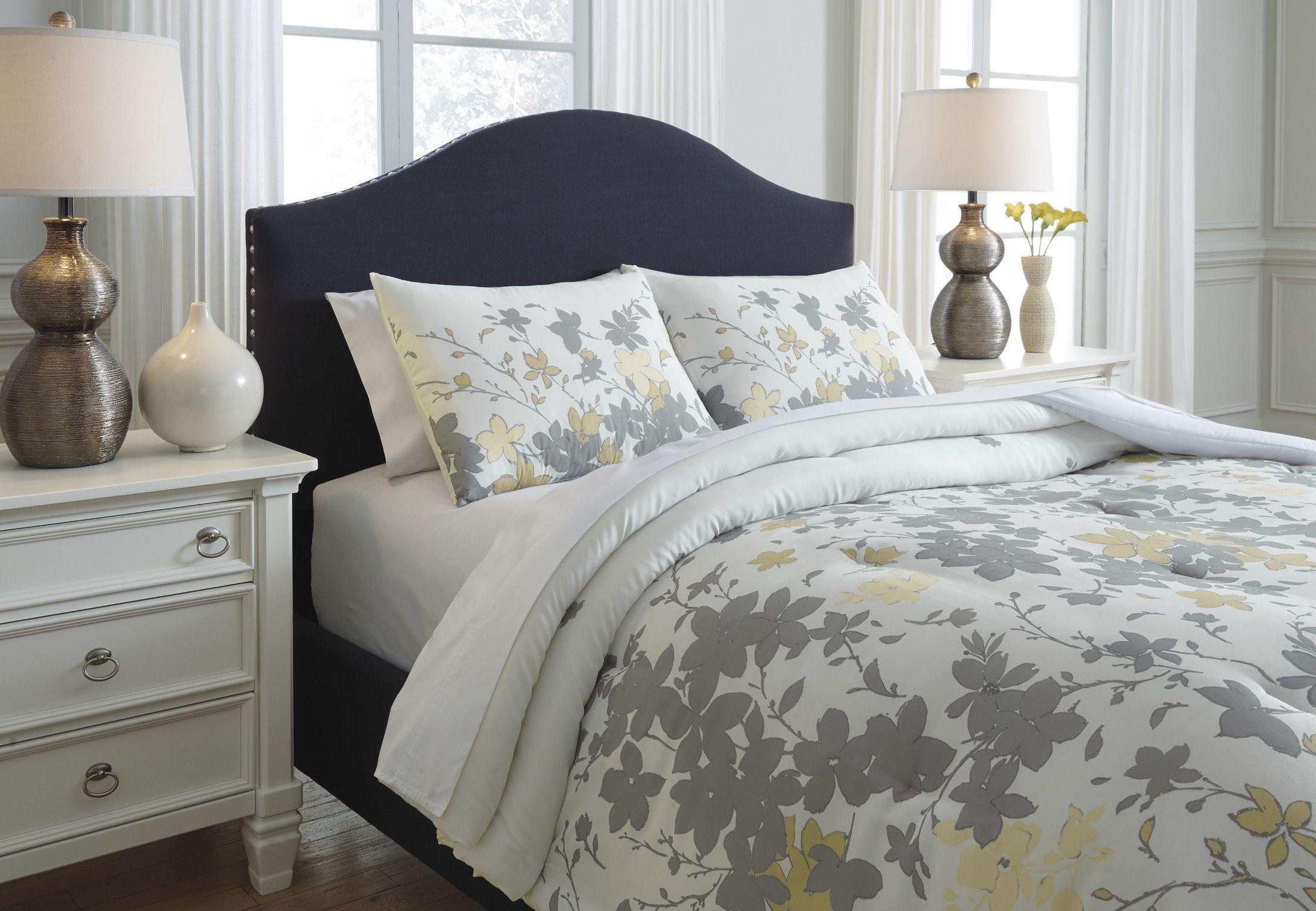 Maureen Gray and Yellow King Comforter Set Comforter