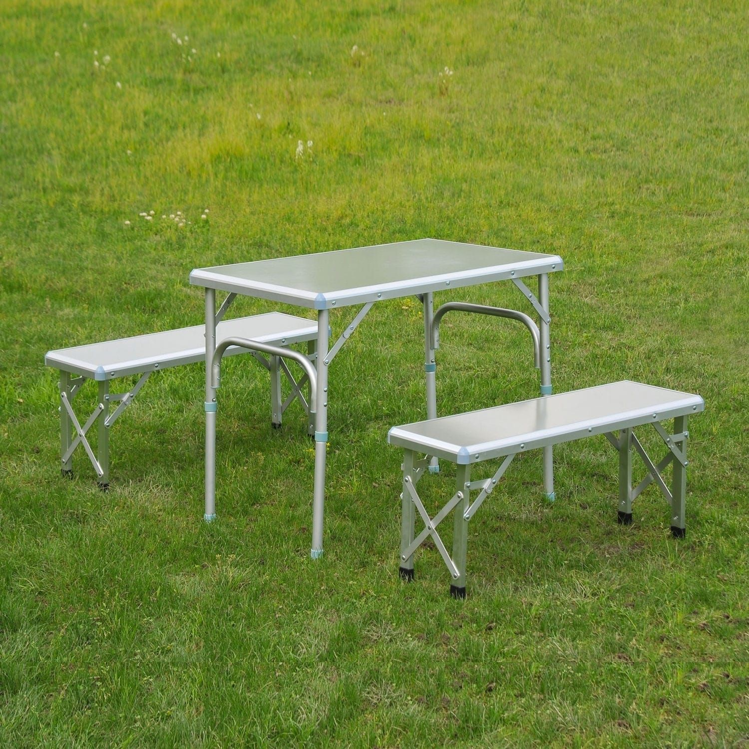 Outsunny Portable Outdoor Picnic Table with Folding Bench Seats ...