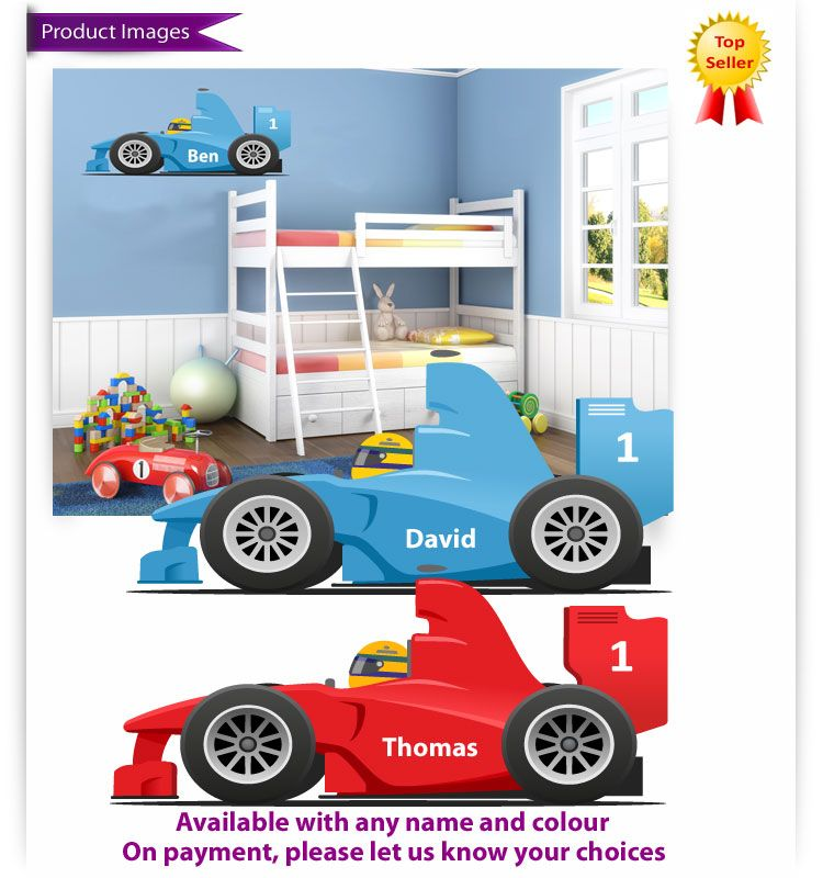 Childrens Kids Bedroom Racing Car Wall Stickers With Name - Wall decals carsracing car wall decal ideas for the kids pinterest wall