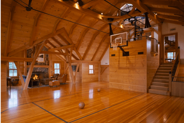 Wish You Were A Baller Check Out These Homes With Indoor Basketball Courts Home Basketball Court Indoor Basketball Court Basketball Room