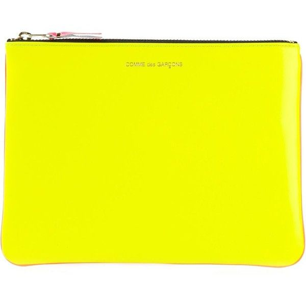 Comme Des Garçons Wallet New Super Fluo Wallet (360 BRL) ❤ liked on Polyvore featuring bags, wallets, clutches, comme des garcons wallet, genuine leather bag, leather wallet, yellow wallet and real leather wallet