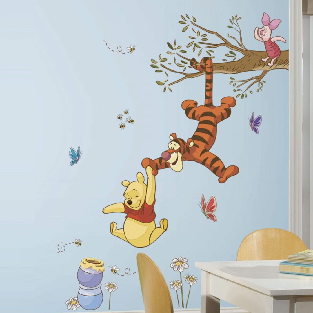 RoomMates RMK1499GM Pooh and Piglet Peel and Stick Giant Wall Decal