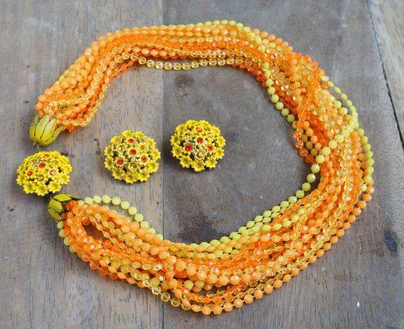 Yellow Plastic Beads Necklace Vintage 1960s Orange