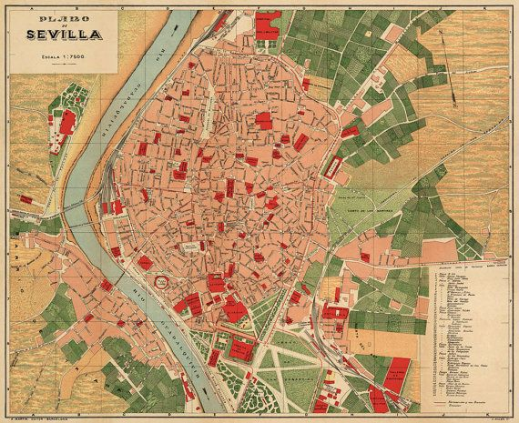 Sevilla Map Historic Map From 1904 Vintage Maps In 2019