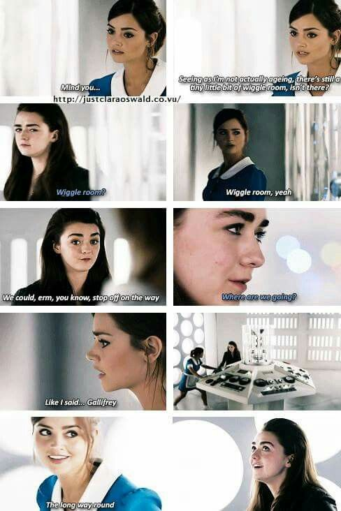 Doctor Who.  I can only accept Clara's fate by not knowing how it all ends; and to know that she chose to spend her time with another lost soul: the girl who dies and the girl who can't, traveling the stars to their heart's content... She gives Me what the Doctor won't: companionship.