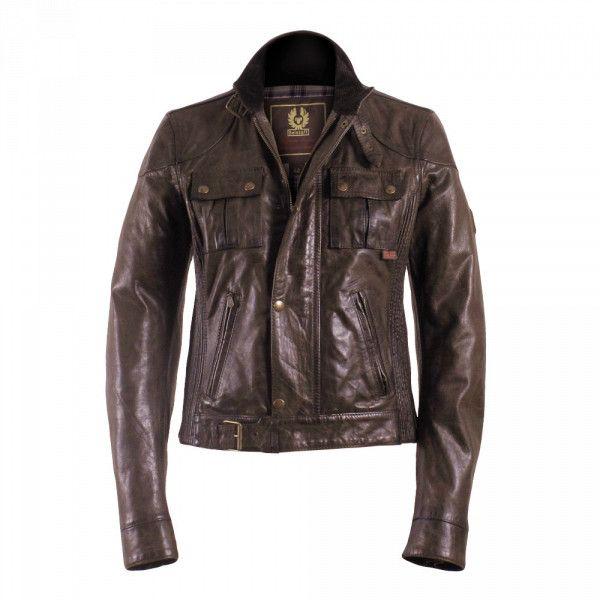 UK Belstaff Women Leather Gangster Blouson Burnt Brown BYG47894