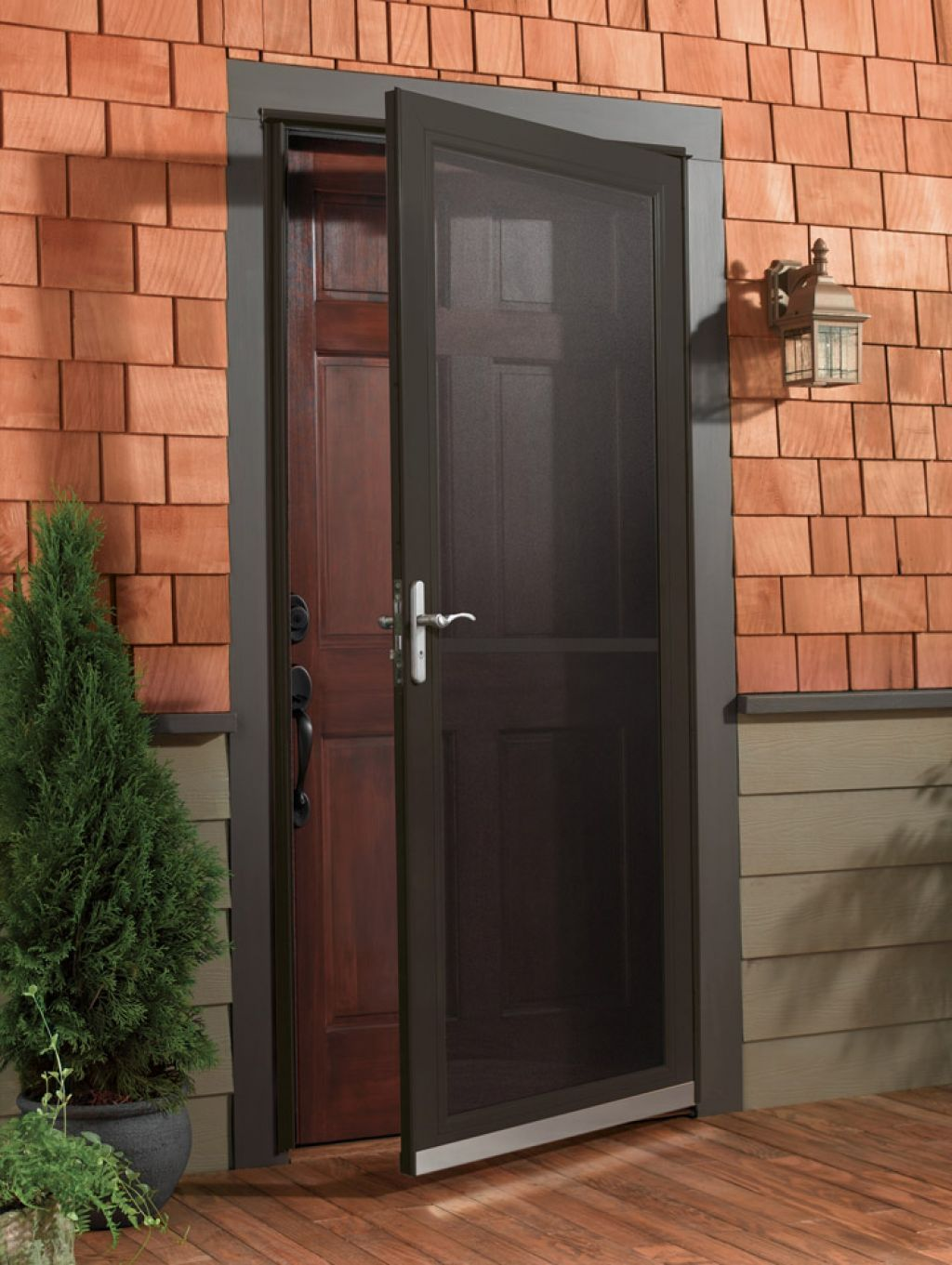 Simple Common Design For Storm Door Using Dark Shaded