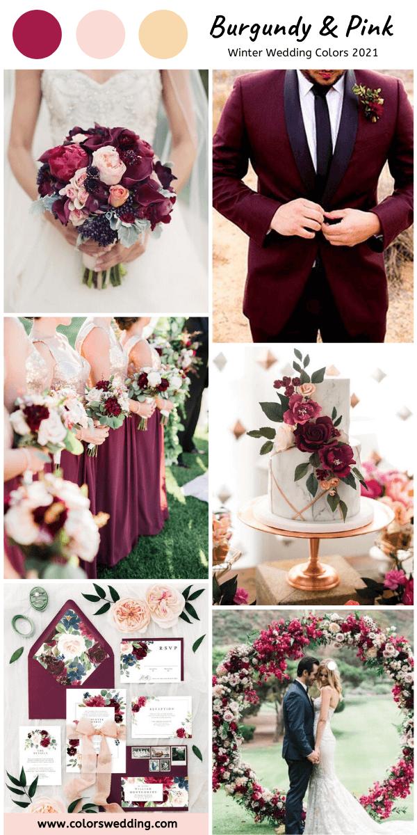 Burgundy & Pink Wedding bridesmaid dresses, groomsmen's
