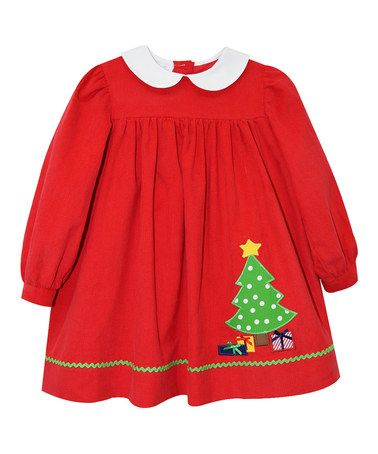 08629f614eee5 Red Christmas Tree Appliqué Babydoll Dress - Infant & Toddler #zulilyfinds