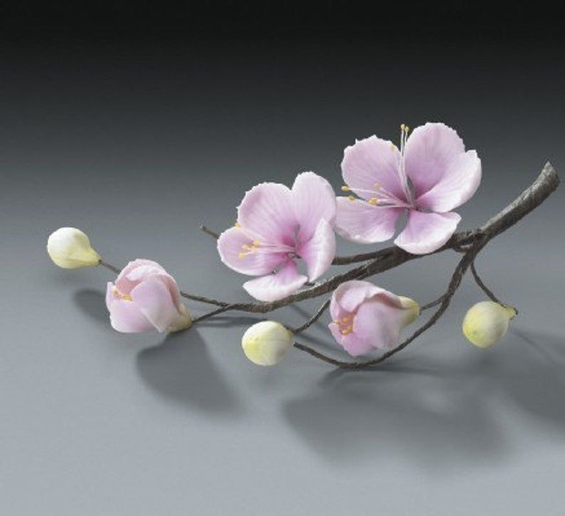 4 Sets Of Cherry Blossom Flower Branches Gum Paste For Etsy In 2020 Gum Paste Flowers Clay Flowers Cherry Blossom Flowers