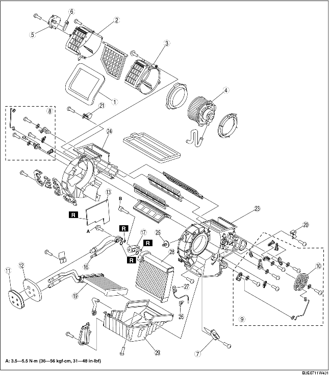 A/C UNIT DISASSEMBLY/ASSEMBLY [MANUAL AIR CONDITIONER