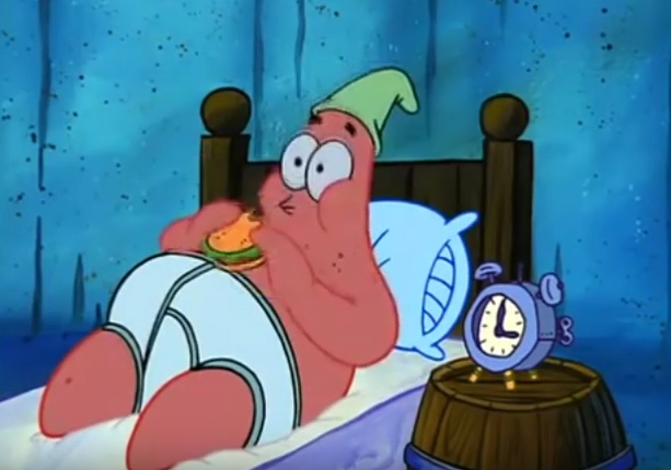 Patrick Eating A Krabby Patty Funny Pictures Spongebob Laugh