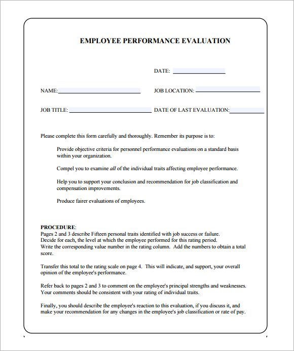 Employee Performance Evaluation Form Sample Evaluation Pinterest