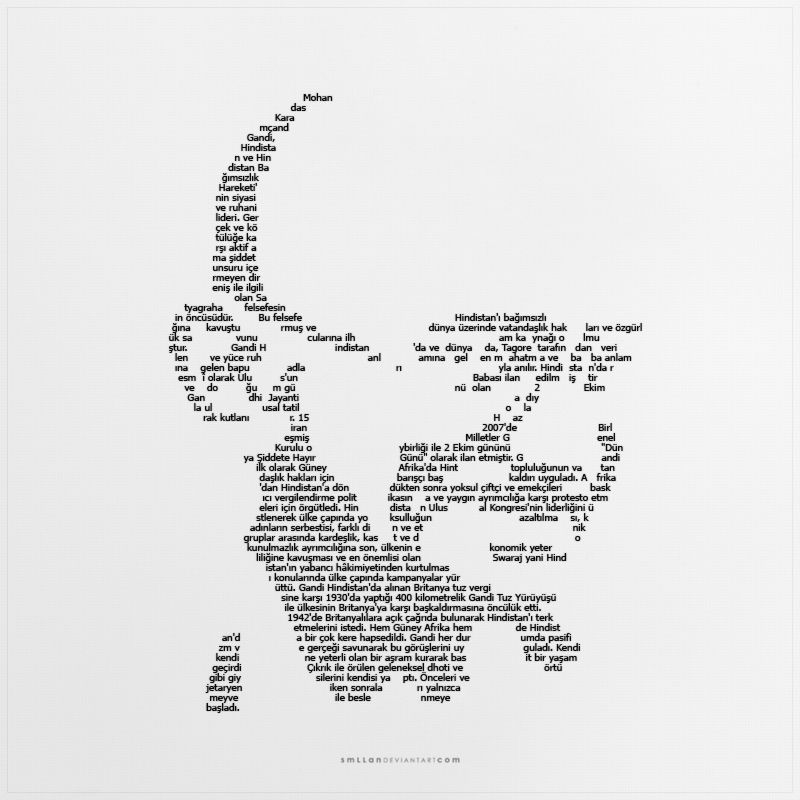 Single Line Word Art : Word art gandhi typography in words