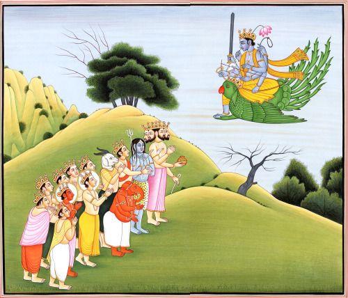 Vishnu worshiped by Gods, by Kailash Raj