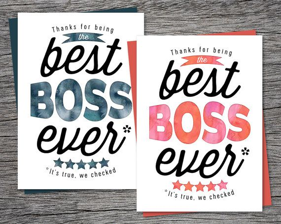 picture relating to Bosses Day Cards Printable identified as Bosss Working day Card - Owing for staying the suitable manager at any time