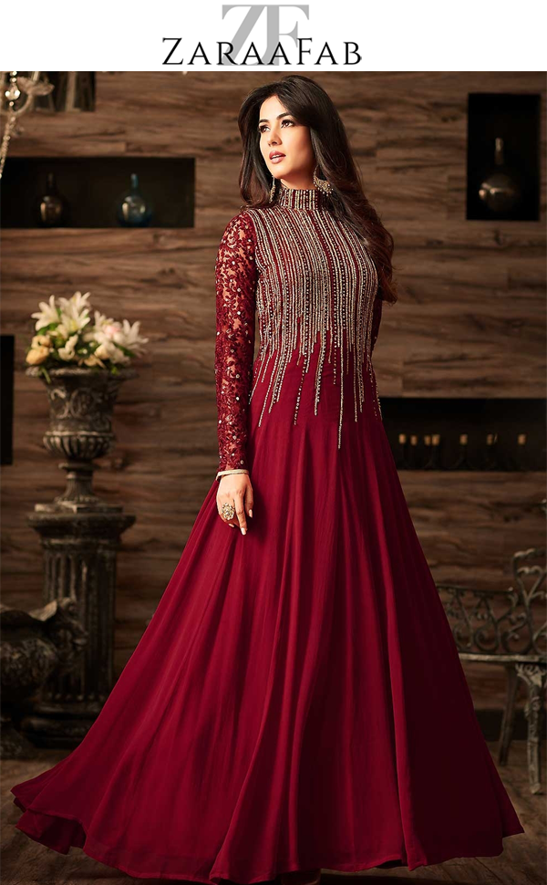 ee44fad2bb7 Exclusive beautiful maroon color wedding salwar kameez online with exciting  discounted prices on ZaraaFab online shopping store.
