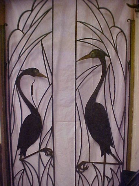 One Of Kind Asian Art Deco Metal Iron Crane Bird Decor Gates ...