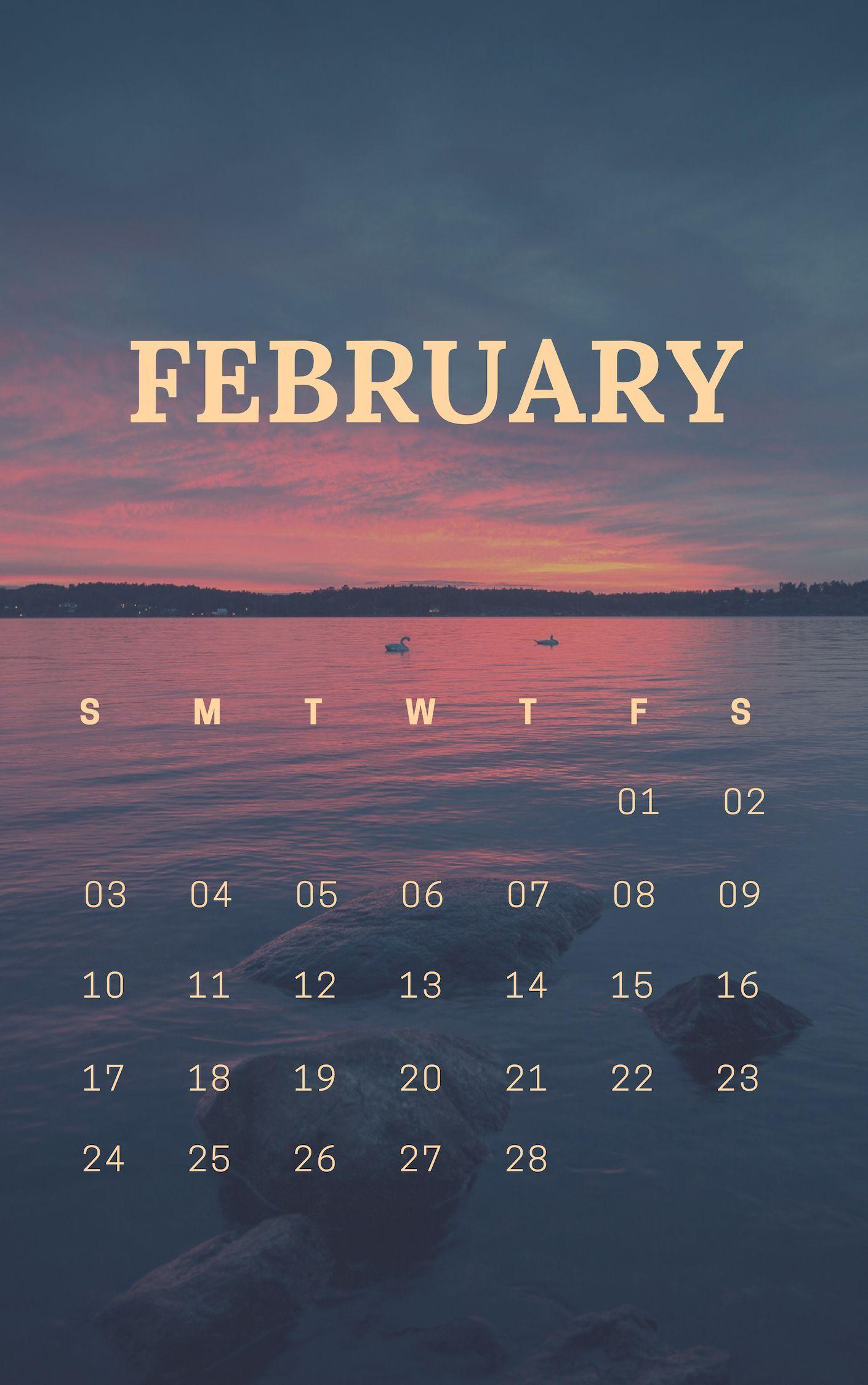 February Calendar M - F 2019 february 2019 sunrise calendar wallpaper   Web design in 2019