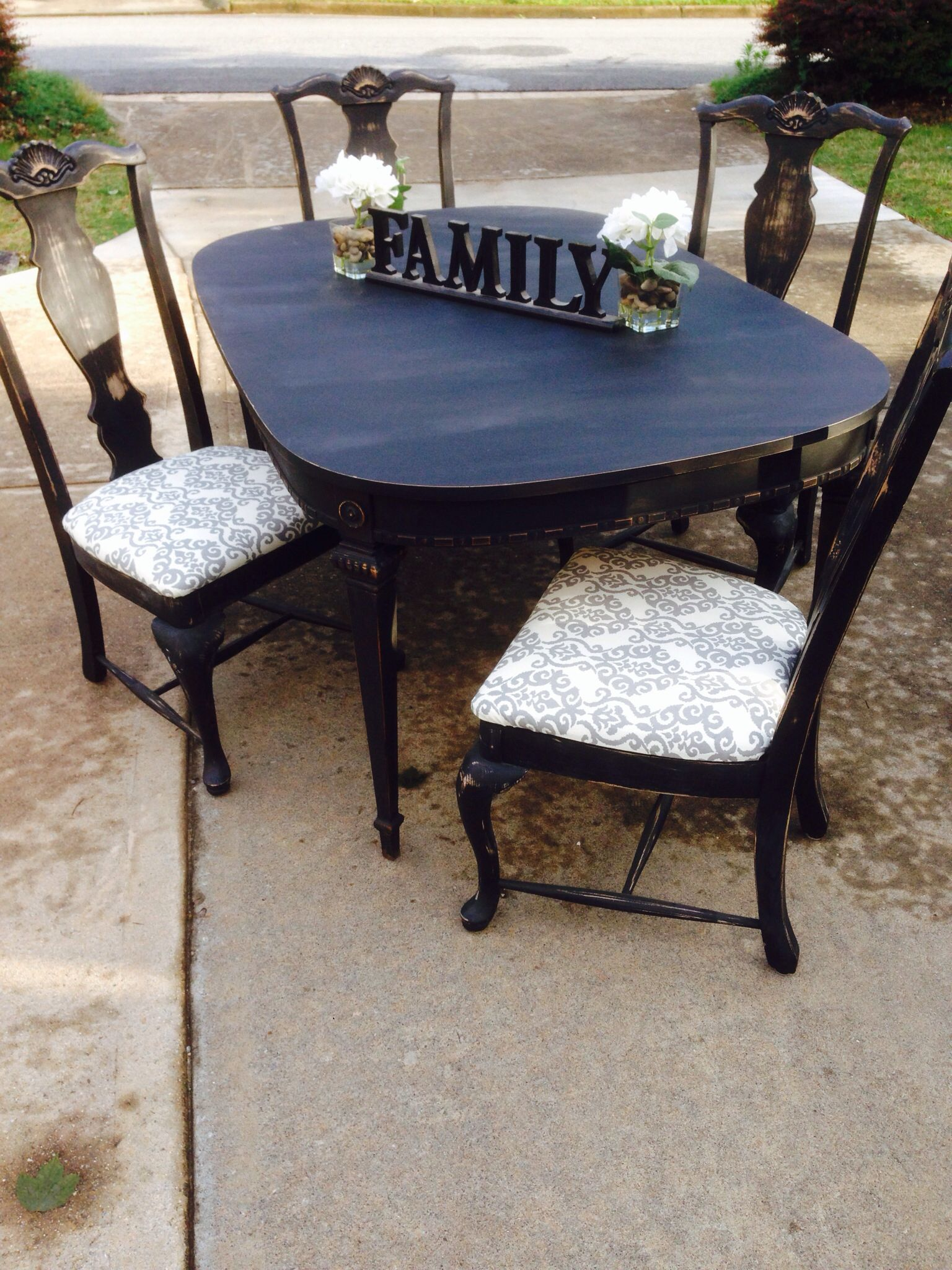 Refinished Kitchen Table Flat Black Chalk Paint Then Sanded To
