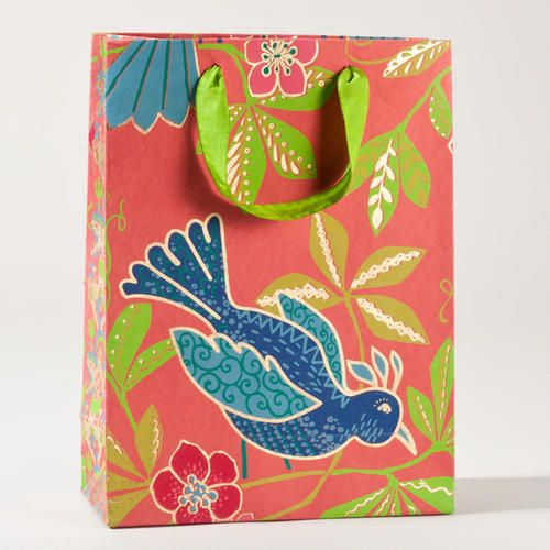 One of my favorite discoveries at WorldMarket.com: Rio Blue Bird on Pink Large Gift Bag