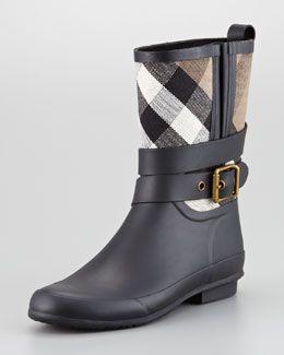 X1ET6 Burberry Check Canvas Short Rain Boot