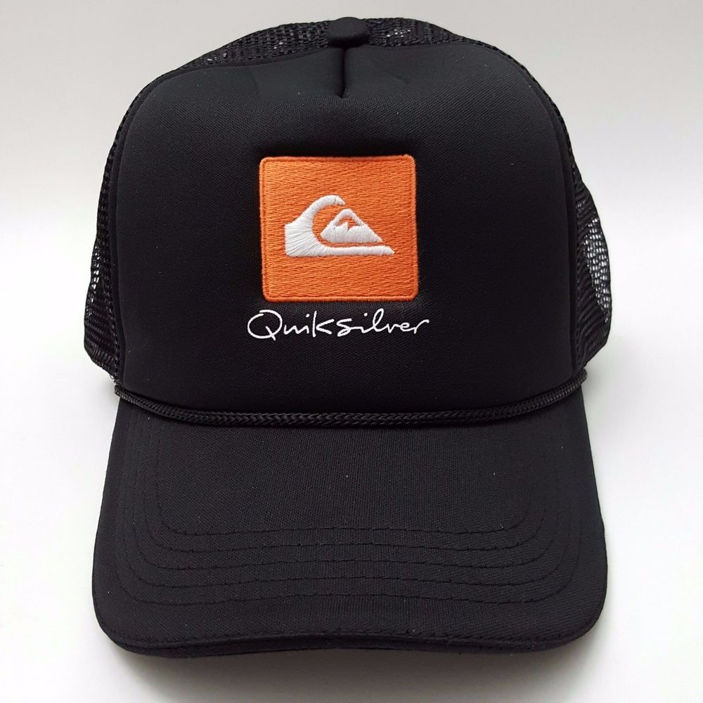 check out aae5c 23b76 QUIKSILVER Waterman Collection Trucker Hat Orange Logo Adjustable Snapback  Black  Quiksilver  Trucker