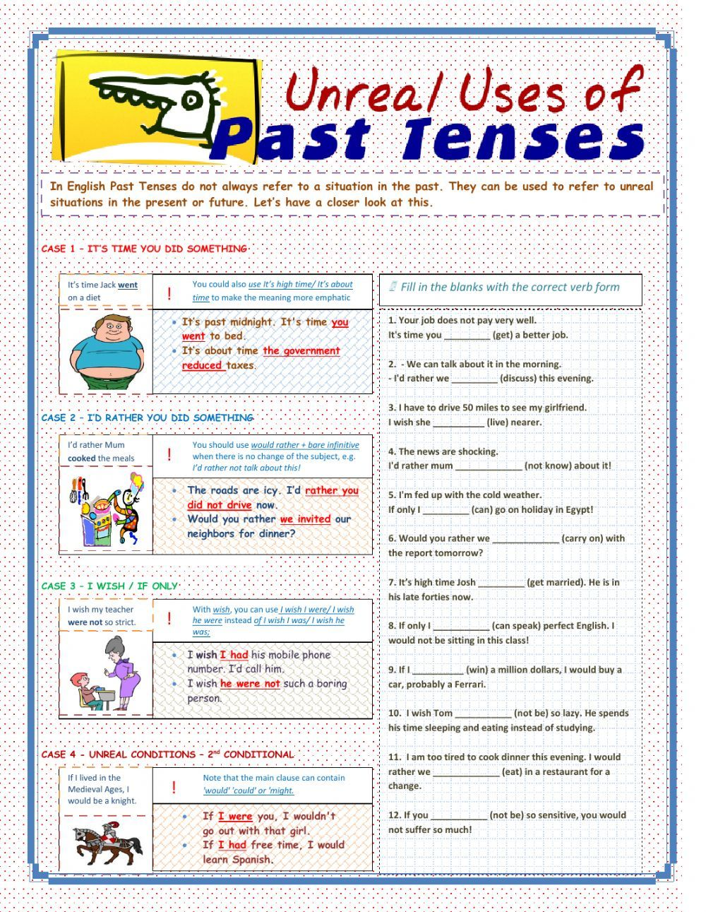 Past tenses interactive and downloadable worksheet. You