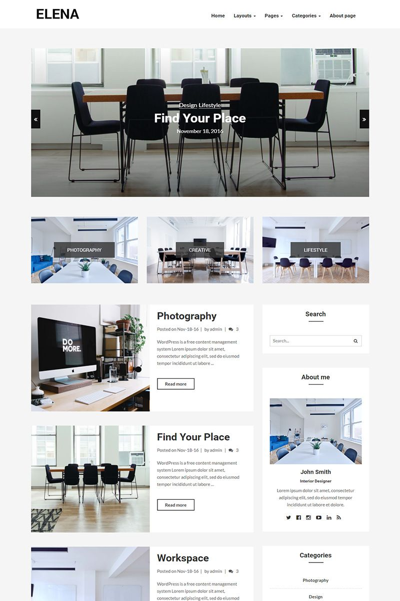 Elena - Blog WordPress Theme Big Screenshot | New Website ...