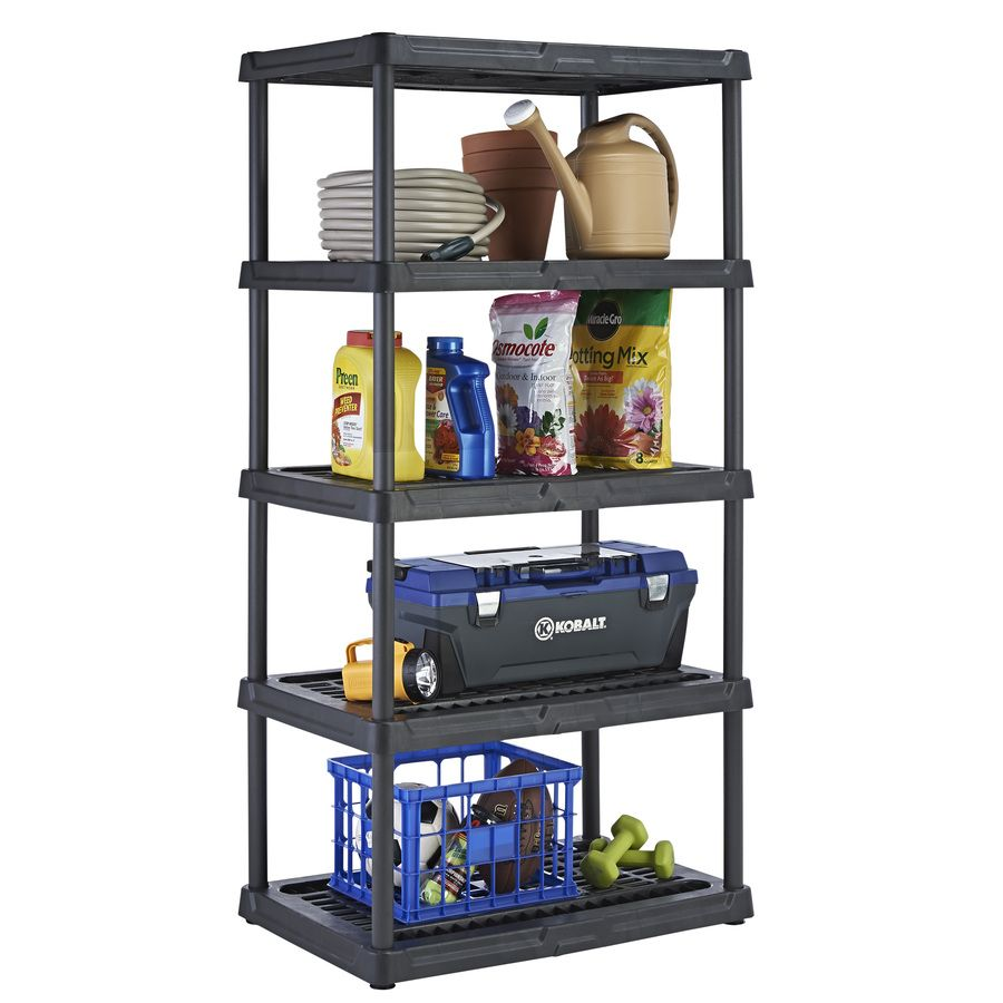 shelving units lowes blue hawk 5 tier plastic freestanding shelving unit at 26054