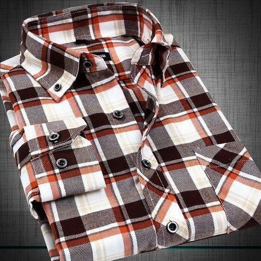 Men's Flannel Plaid Long Sleeve Shirt