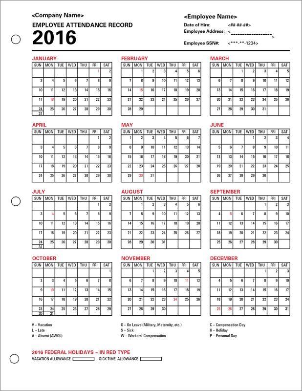 Employee Attendance Calendar Tracker Templates 2016