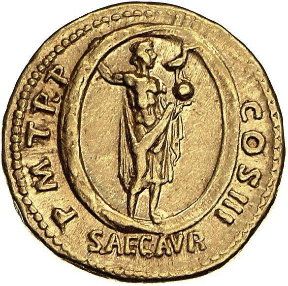 Aureus Issued by Hadrian: (reverse) Aion Standing in Zodiac, Holding Phoenix and Globe. Minted in Rome, RIC II 136; ca. 119–122 CE. Gold. Diam. 1.9 cm. Münzkabinett, Staatliche Museen zu Berlin, 18204693 © bpk, Berlin / Münzkabinett, Staatliche Museen zu Berlin / Dirk Sonnewald / Art Resource, NY