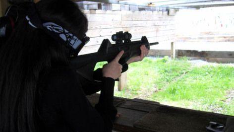 Wife shooting a Beretta CX-4 Storm Tactical Carbine