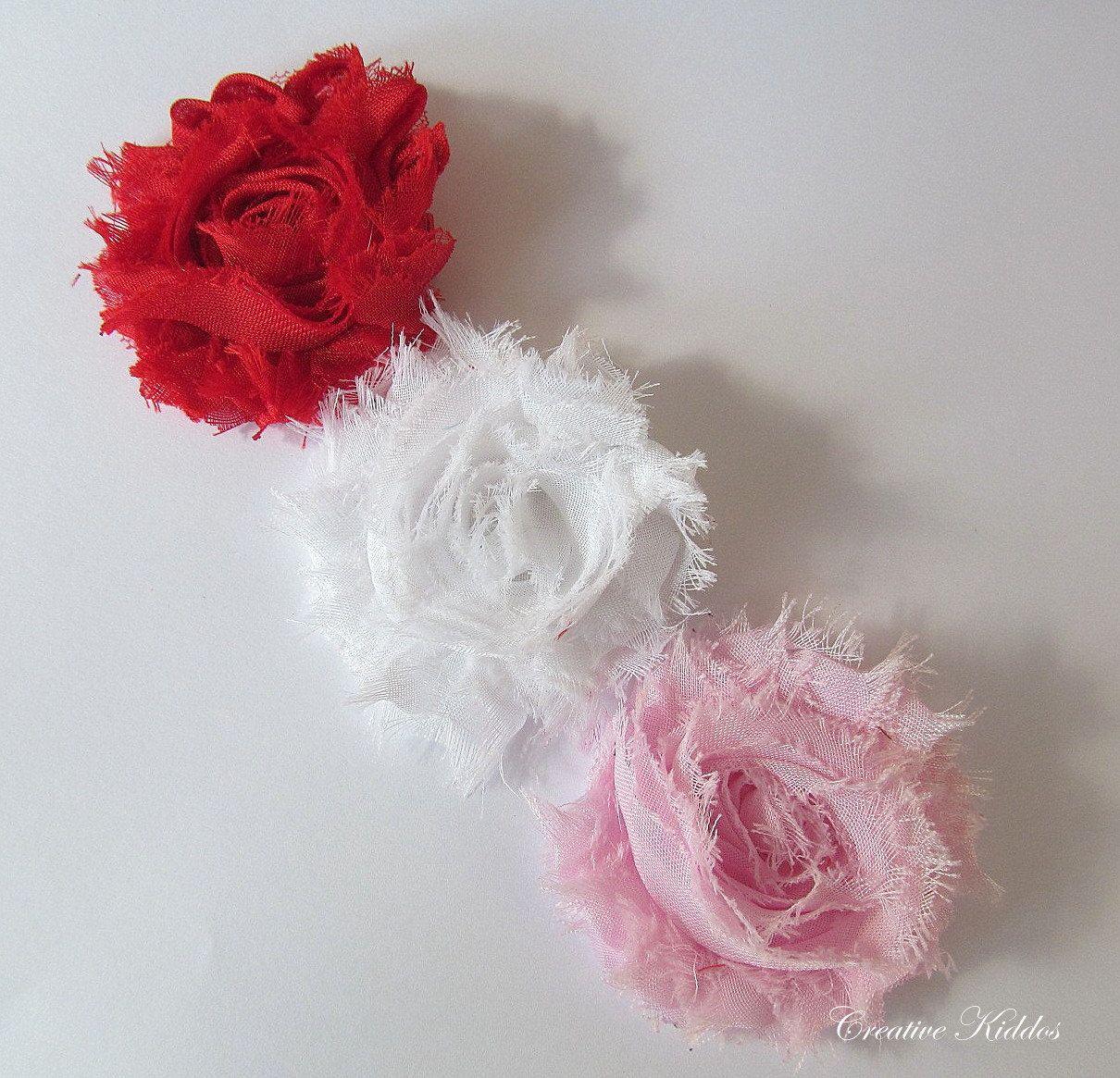 New Item Shabby Frayed Flower Hair Clips 3 Piece Set Babiesgirls