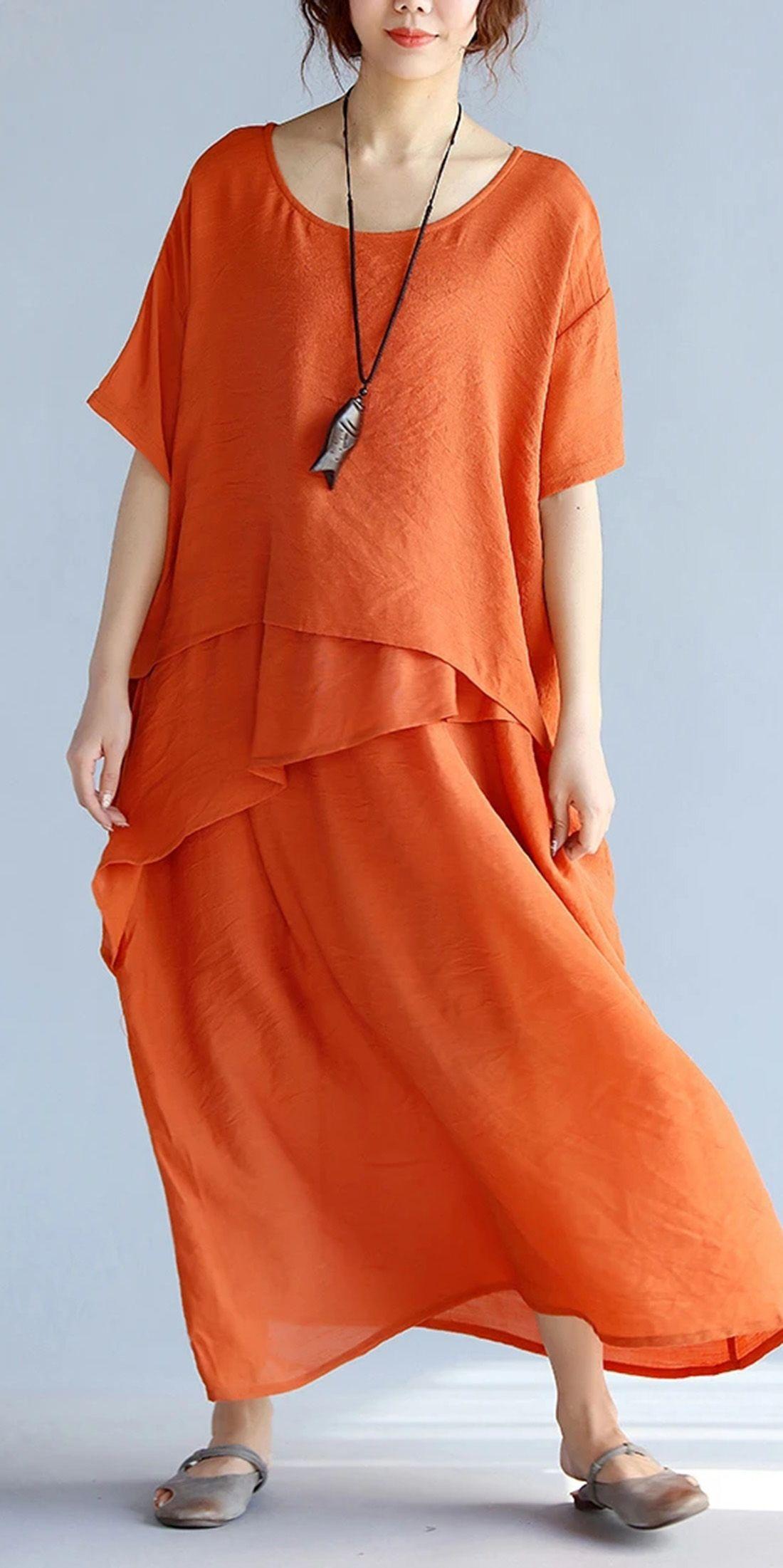 Plus size clothing Cotton dress Pink long sleeve dress Linen dresses for women Oversized dress Maxi Dresses