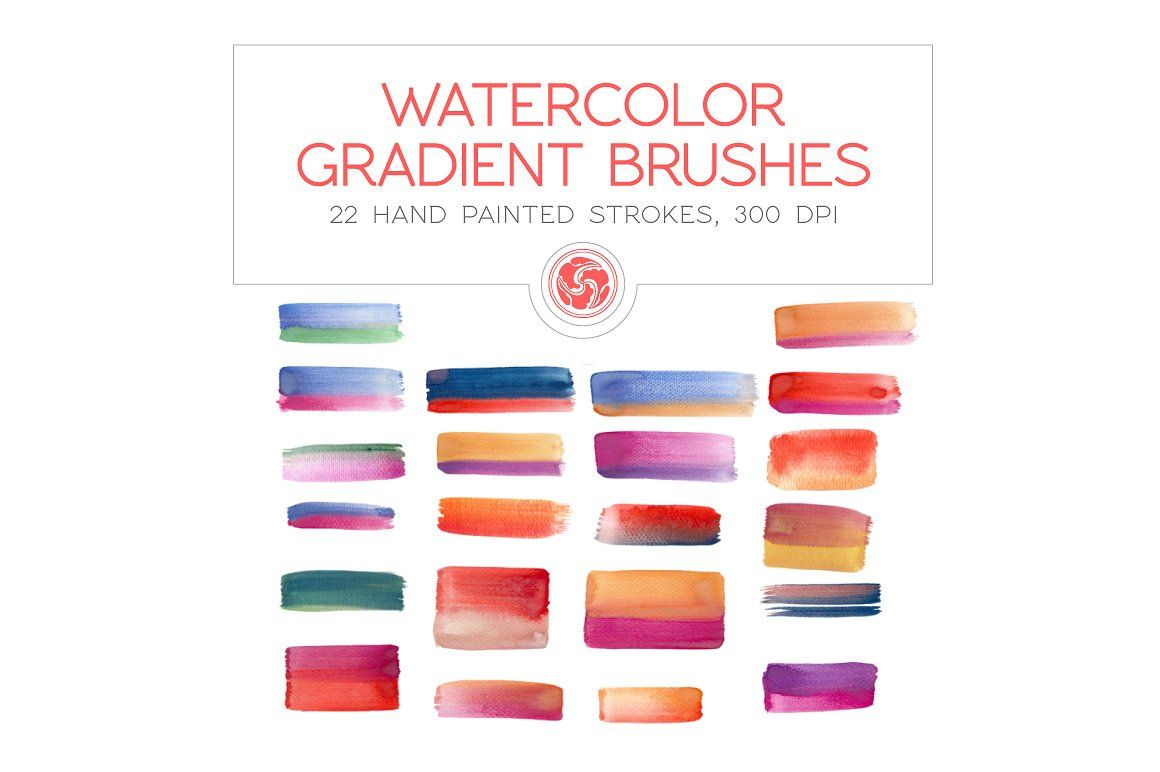 Gradient Watercolor Brushes Download Instant Strokes Background