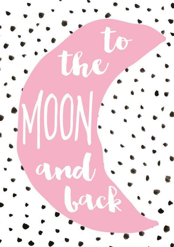Girls Nursery Or Bedroom Prints- Pink Alphabet, Bunny, To The Moon ...