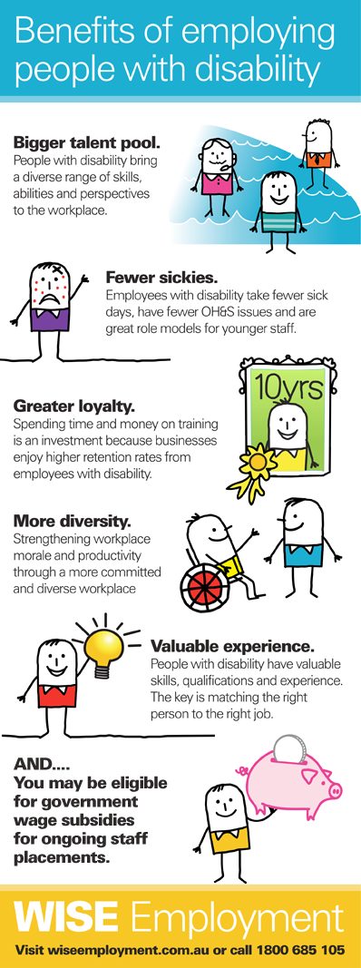 Benefits Of Employing People With Disability Visit Wiseemployment Com Au Or Free Call 1800 685 1 Job Coaching Disability Awareness Month Disability Awareness